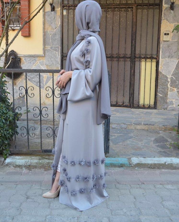 2018 Adult Casual cardigan Flower Robe Musulmane Turkish Dubai Fashion Abaya Muslim Dress Robes Arab Worship Service Wj1886
