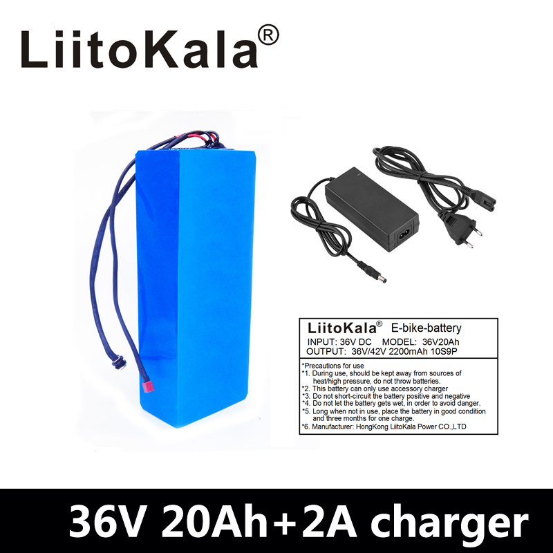 LiitoKala Hot sale 36V Lithium battery 36V 20AH Electric Bike battery 36 V 20ah 1000W Scooter Battery with 30A BMS 42V2A charger