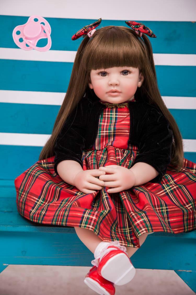 60 cm Silicone Reborn Bébé Poupée Jouets 24 pouces Vinyle Princesse Toddler Bébés Poupée Haute Qualité D'anniversaire Cadeau Jouer maison Jouet