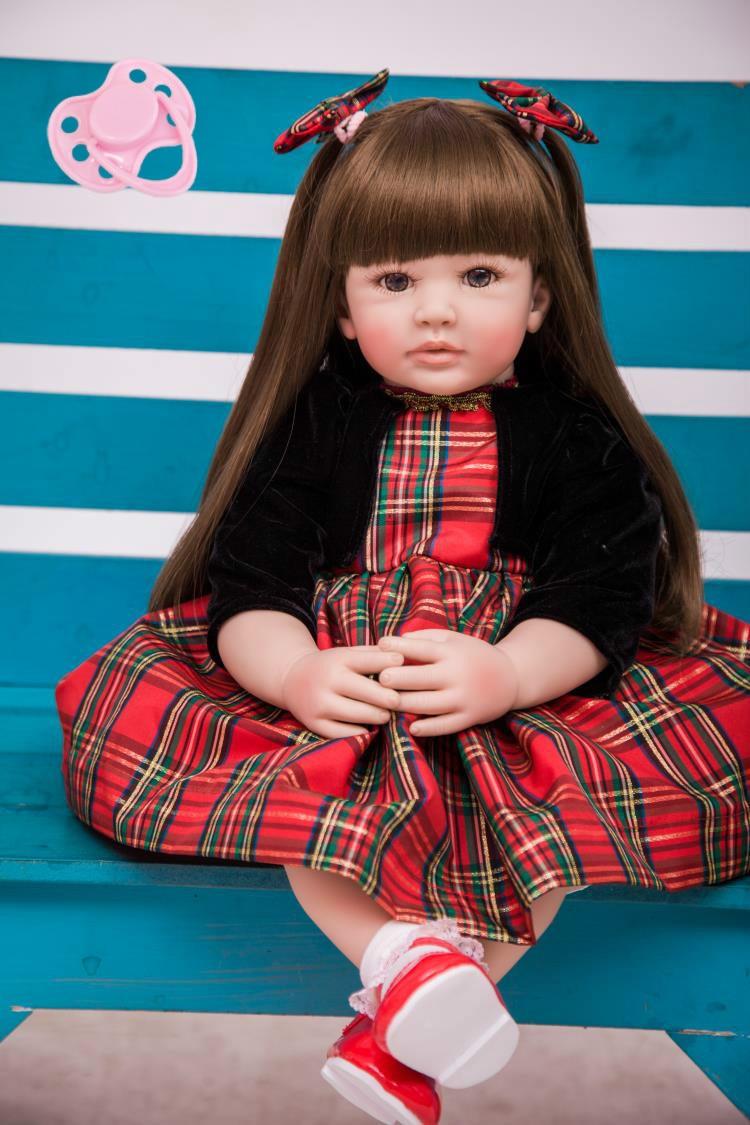 60 cm Silikon Reborn Baby Puppe Spielzeug 24 zoll Vinyl Prinzessin Kleinkind Mädchen Babys Puppe Hohe Qualität Geburtstag Geschenk Spielen haus Spielzeug