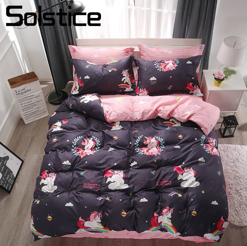 Solstice Home Textile Unicorn Rainbow Duvet Cover Pillowcase Pink Bed Sheet Kid Girls Bedding Set Child Teen Linens Queen Single