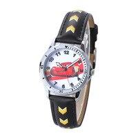 Cartoon child boy wristwatch waterproof Children's Watches Disney brand children boys wristwatch quartz leather black red
