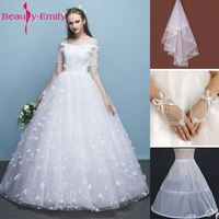 Beauty Emily Normal Bride Simple White Wedding Dresses 2017 V Neck Short Sleeve Lace Up Lace
