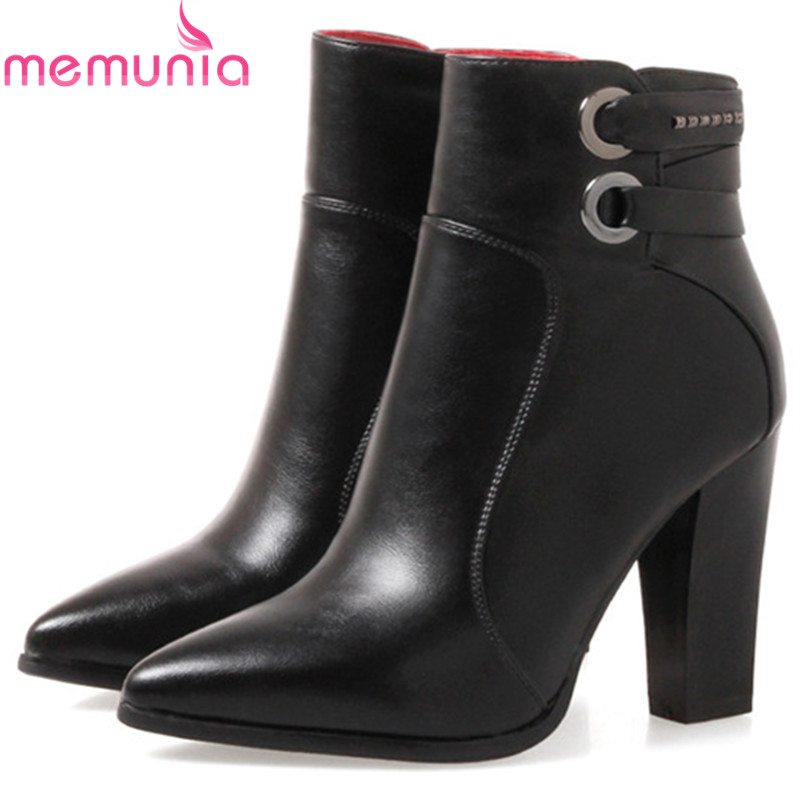 MEMUNIA PU soft leather fashion boots female spring autumn high heels boots pointed toe zip solid ankle boots for women