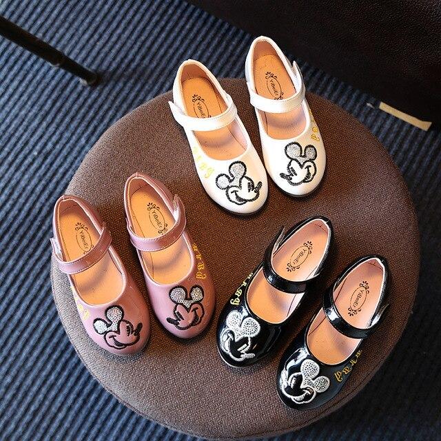 Children's Leather Shoes Girls Performance Autumn 2017 Infantil Fashion Brand Dress Black Princess Kids Wedding Shoes