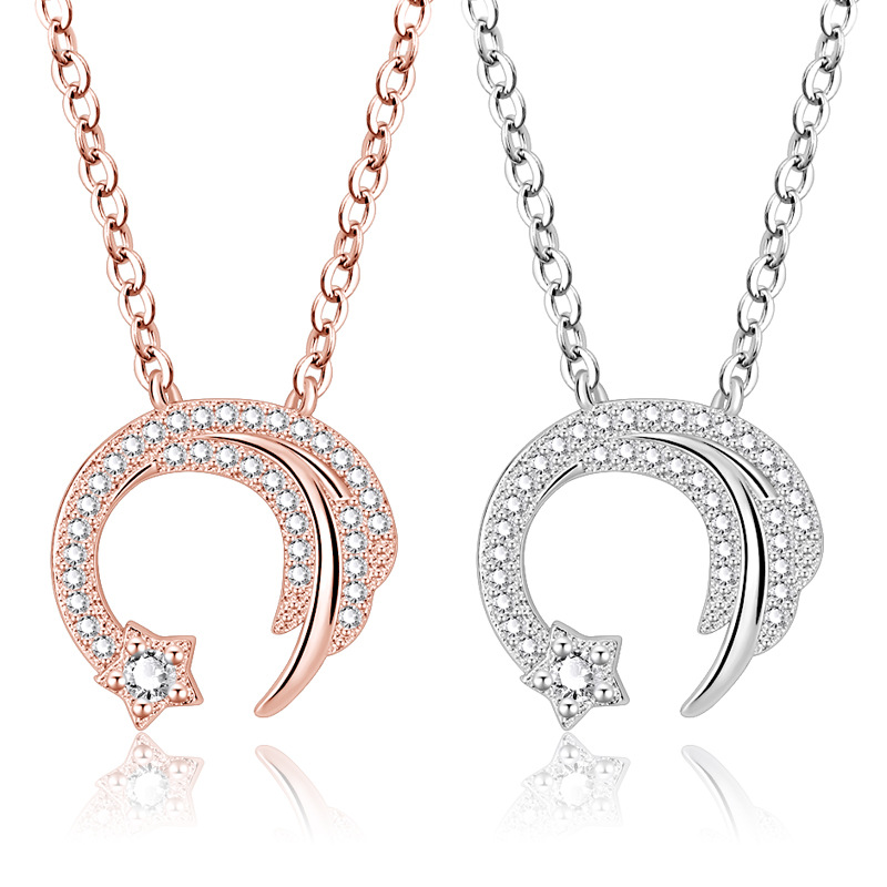 Necklaces & Pendants Imported From Abroad Anenjery Romantic Meteor Love Star Necklace For Women 925 Sterling Silver Clavicle Chain Necklace Wedding Jewelry Collier S-n346 Soft And Light