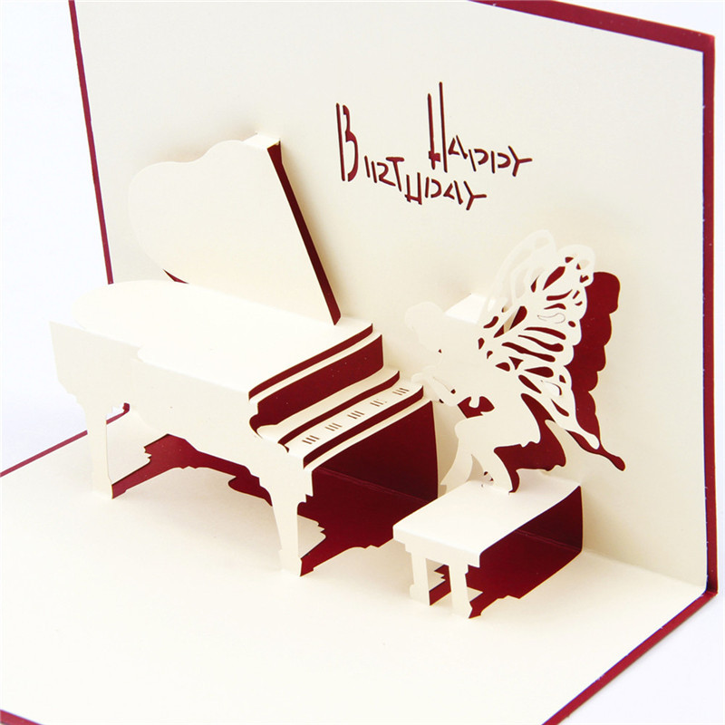Best Wishes Music Piano Stereo Postcards Paper 3D Pop Up Greeting Cards Envelope Red BLue