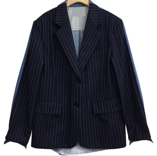 GETSRING Women Blazer Denim Jacket Blazers Jackets Loose Striped Jacket Long Women Coat 2018 New Spring Patchwork Vintage Casual