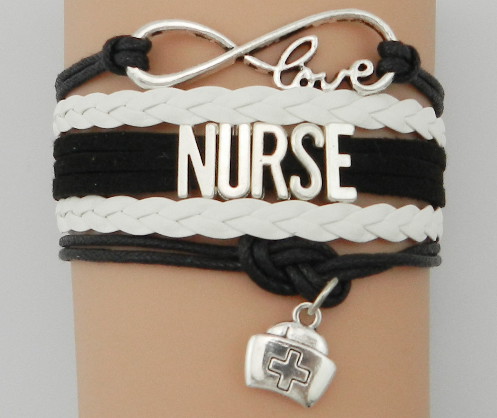 Drop Shipping Infinity Love Nurse Bracelet Best Gift for Women Black with White Bradied Leather