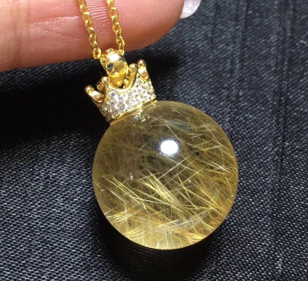 Natural Gold Copper Rutilated Quartz Pendant 14mm Ball Shape Woman Man Wealthy Lucky Gift Luxury Gemstone Pendants AAAAANatural Gold Copper Rutilated Quartz Pendant 14mm Ball Shape Woman Man Wealthy Lucky Gift Luxury Gemstone Pendants AAAAA