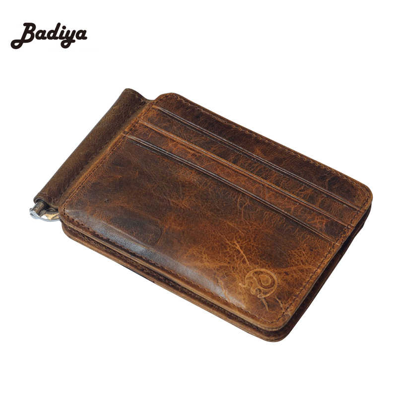New Luxury Retro High Quality Genuine Leather Bifold Coins Purse and Wallet Men Card Holder Special Design Bag Clamp Card Holder