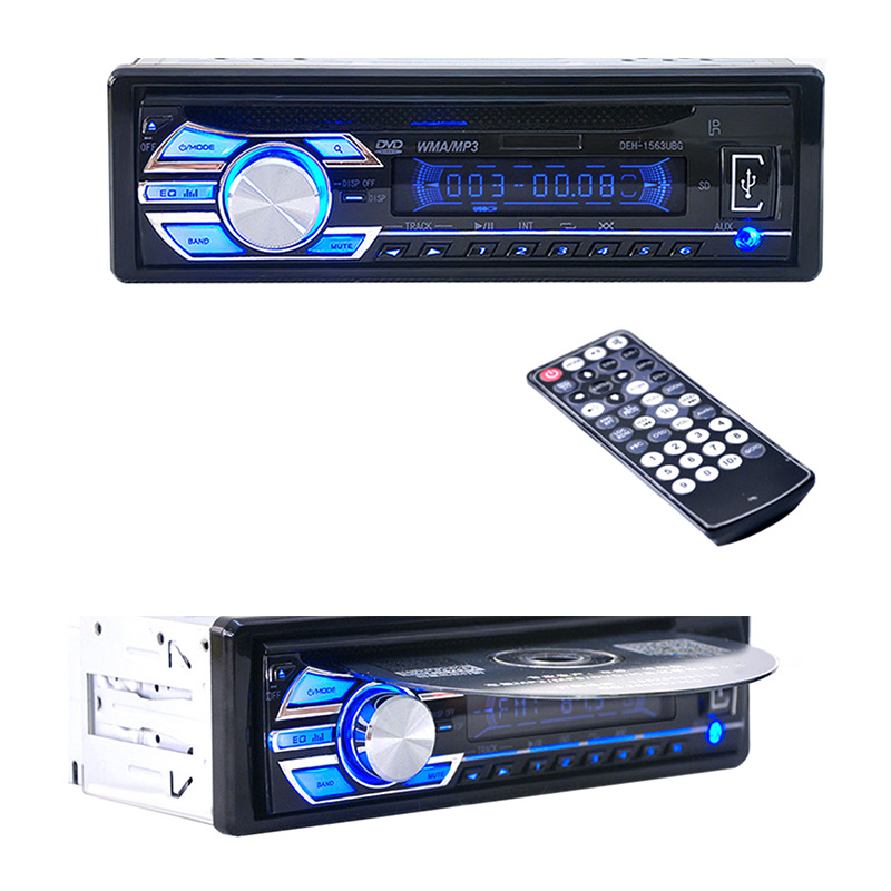 12V Car Stereo FM Radio MP3 Audio Player Support FM USB SD DVD Music CD Player AUX Mic with Remote Control radio In-Dash 1 DIN