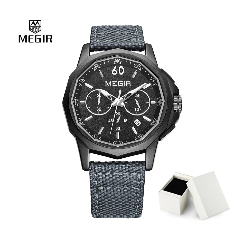 2017 New Megir Quartz Watch Canvas Strap Men Watches Chronograph Wristwatch Waterproof Calendar Clock Man Relogio Masculino 661 men quartz watch with canvas strap