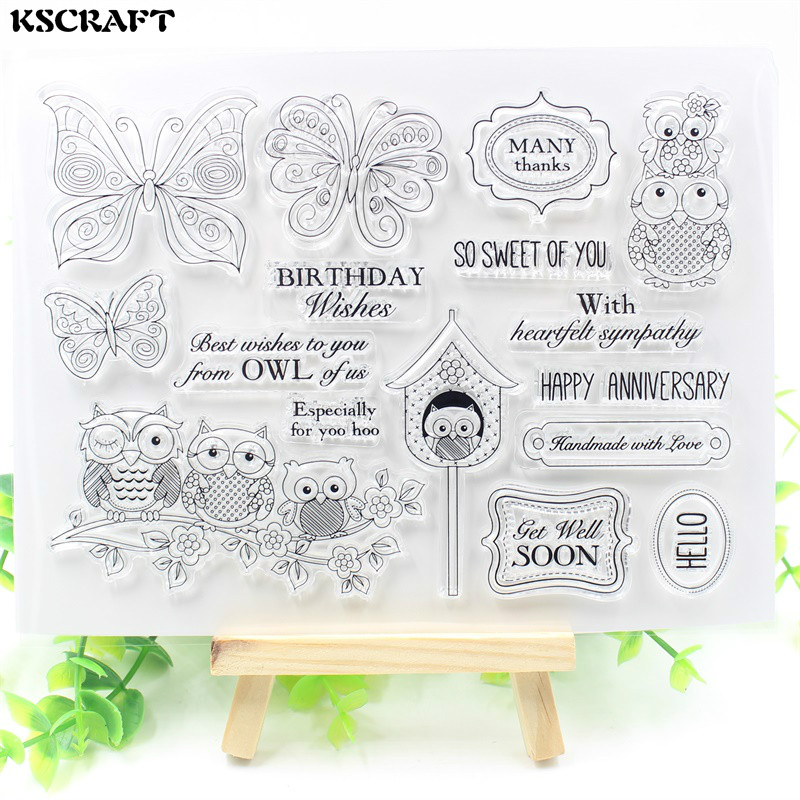 KSCRAFT Birthday Wishes Transparent Clear Silicone Stamp/Seal for DIY scrapbooking/photo album Decorative clear stamp sheets