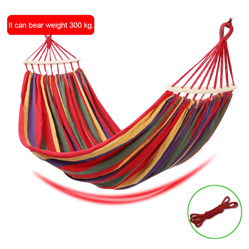 1pcs Cavans Hammock Portable Outdoor Leisure Hammock Garden Sports Home Travel Camping Swing Canvas Stripe Hanging Bed Hammock
