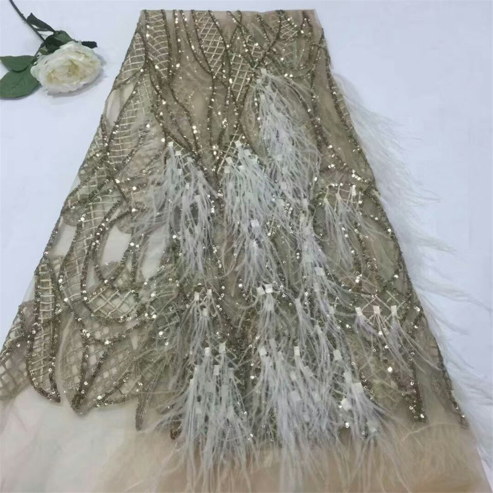 Latest Fashionable Champagne Gold Feather Sequin Dress Lace African Mesh Bridal Lace Tulle Lace Fabric For Party X676 1