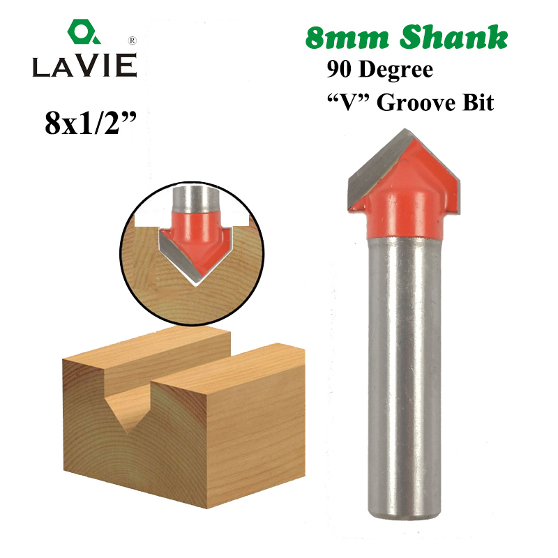 LA VIE 1pc 8mm Shank 90 Degree V Groove Bit 1/2 Inch CNC Engraving Solid Router Bit Carbide Milling Cutter Wood Drilling MC02019