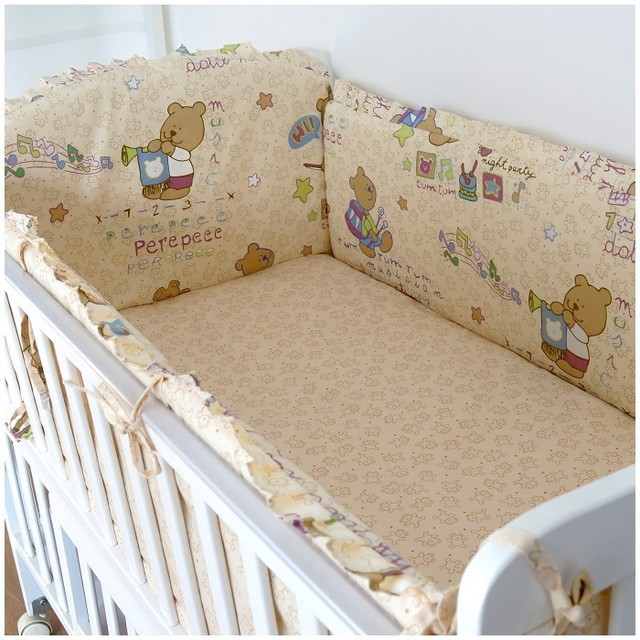 Promotion! 6PCS Bear Baby Bedding Set Piece kids bedding kit berco baby babiesbed  (bumpers+sheet+pillow cover)