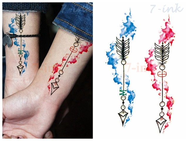 b70e35830 Water Transfer fake tattoo color painting arrow tatoo Waterproof Temporary  Tattoo flash tatto for gril woman