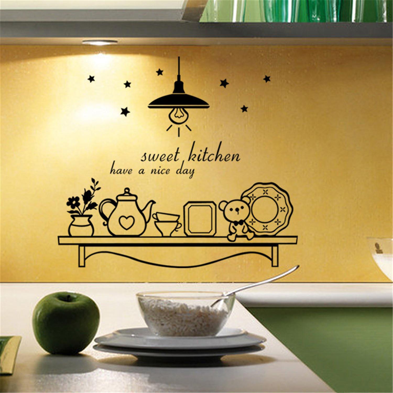 2017 New Design Cute Star Flower Bear Poster Wall Sticker Wallpaper  Creative Sweet Kitchen Wall Stickers Removable Home Decor