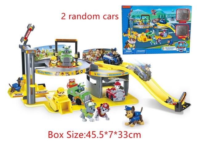 1 Conjunto Carro Patrulla Canina Filhote de Cachorro Patrol Command Center Estacionamento modelo de Dois carros Aleatório Figuras Boneca Brinquedos para As Crianças Crianças presente