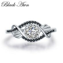 Трендовые 3,5 г натуральная 925 пробы серебряные ювелирные изделия с черным и белым камнем Свадебные Кольца для женщин Bijoux Размер 5 6 7 8 9 10 C307