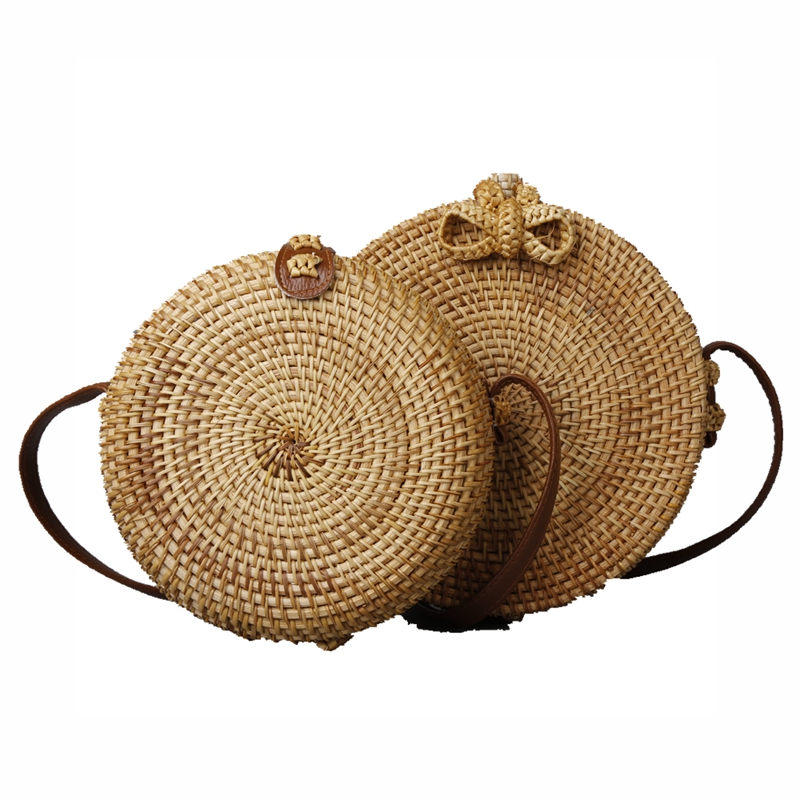 Women Summer Bali Island Shoulder Bags Round Butterfly buckle Rattan lady Straw Bags Satchel Wind Bohemia Beach Crossbody bag