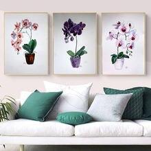 Современные Акварельные Цветы орхидеи холст живопись Цветочные