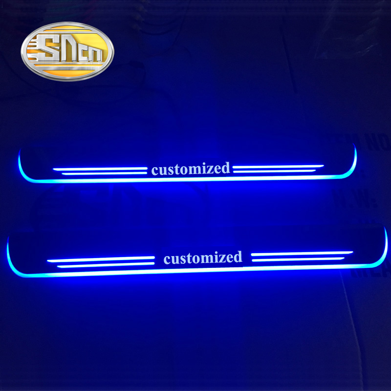 Customized 4PCS Moving LED Welcome Pedal Car Scuff Plate Pedal Threshold Door Sill Pathway Light For Toyota Land Cruiser 200 sncn waterproof acrylic moving led welcome pedal car scuff plate pedal door sill pathway light for ford ranger 2014 2015 2016