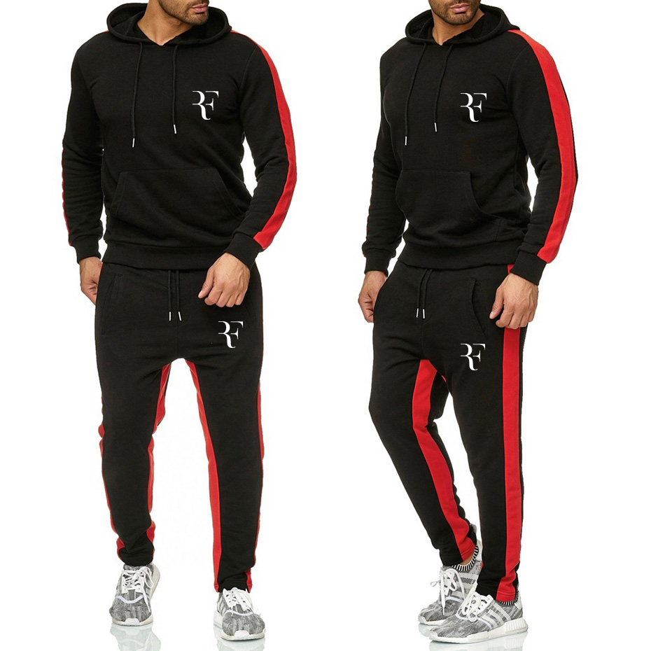 Newest Men Two Pieces Set New Fashion Hooded Sweatshirts Sportswear Men Tracksuit Roger Federer Brand Clothes Hoodies+Pants Sets