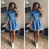 Sexy 2016 Denim Dress Women Vintage Bodycon Summer Women Dress Beach Party Short Dresses Casual Blue