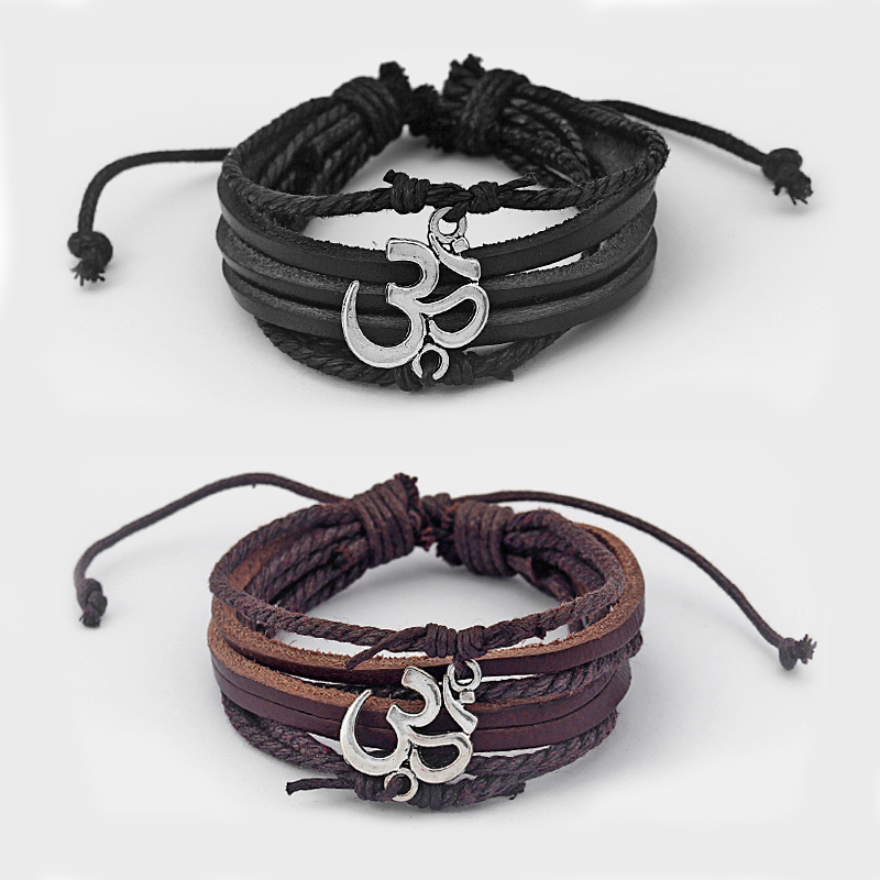 1Pcs Black/Brown Leather With Antique Silver Om/aum Charm Bracelet Bangle for Men WomenAdjustable Jewellery