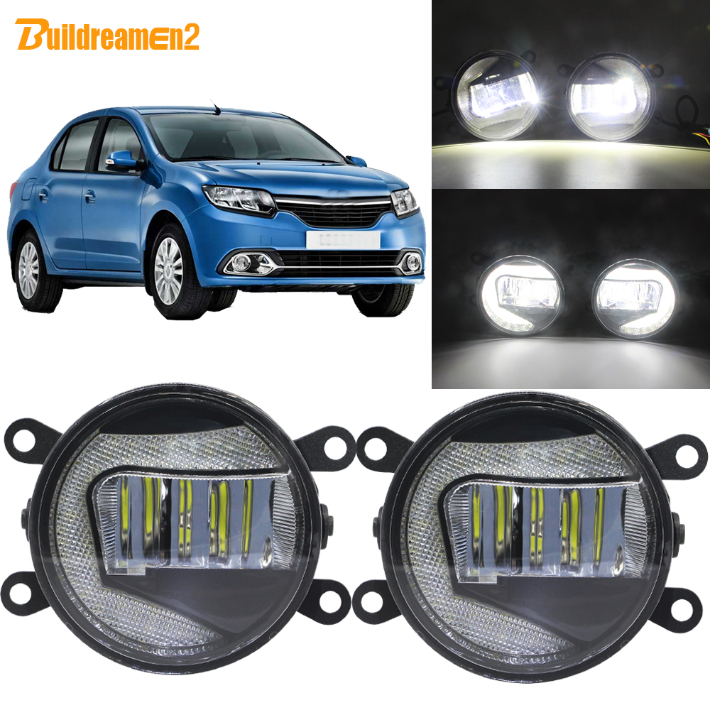 Buildreamen2 2in1 Function Car LED Projector Fog Lamp + Daytime Running Light 90mm Round 12V For Renault Logan 2004 2015