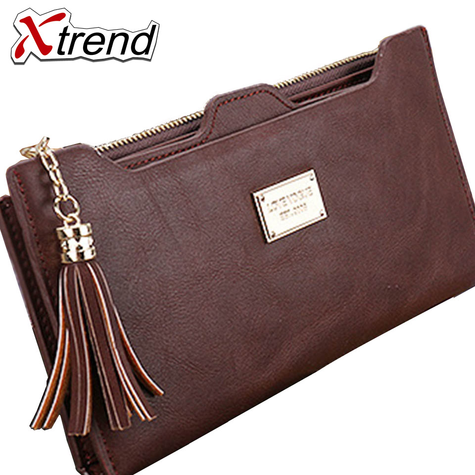 2018 Famous Xtrend Brands Long Women Wallets Card Holder Female Clutch Solid Large Capacity Women's Purse Coin Money Bag Wallet large capacity famous brand wallets card holder clutch bag fashion women long purse stars printing pu leather bifold wallet
