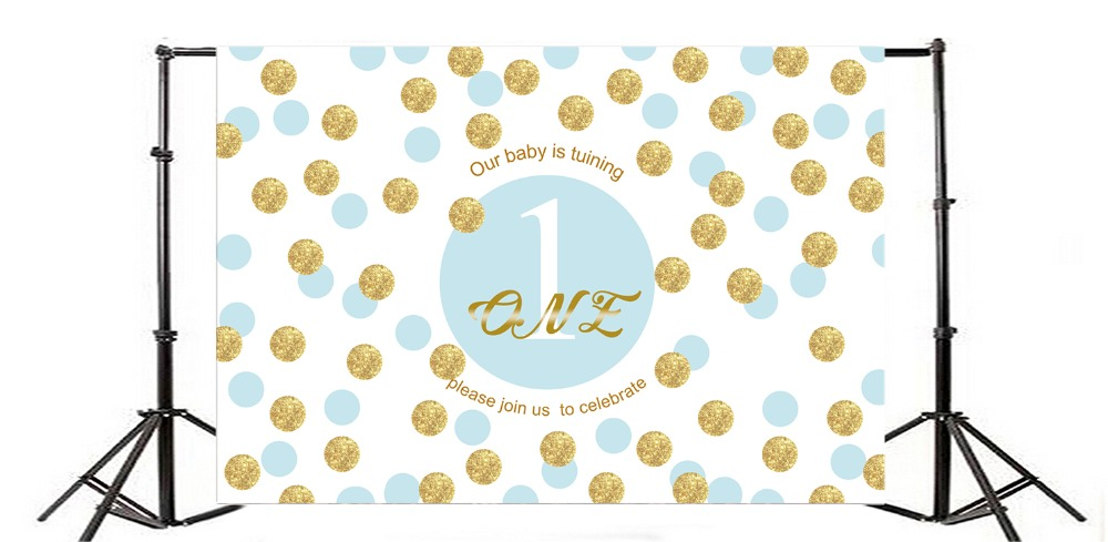 Laeacco Baby 1st Birthday Party Golden Dot Party Pattern Banner Photographic Backgrounds Photography Backdrops For Photo Studio in Background from Consumer Electronics