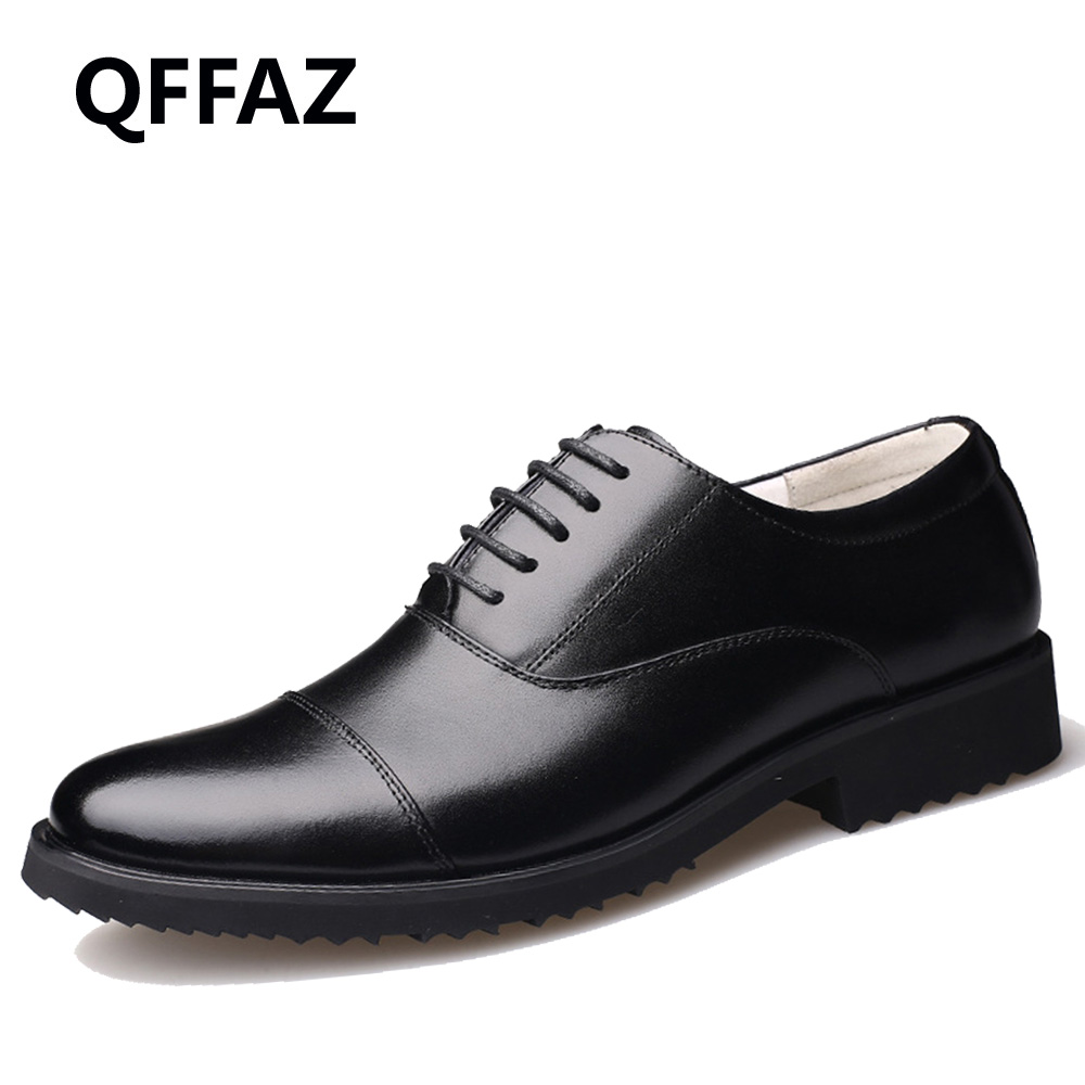 QFFAZ New Business Dress Men Formal Shoes Wedding Pointed Toe Fashion Genuine Leather Shoes Flats Oxford
