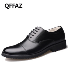 QFFAZ New Business Dress Men Formal Shoes Wedding Pointed Toe Fashion Genuine Leather Shoes Flats Oxford Shoes For Men