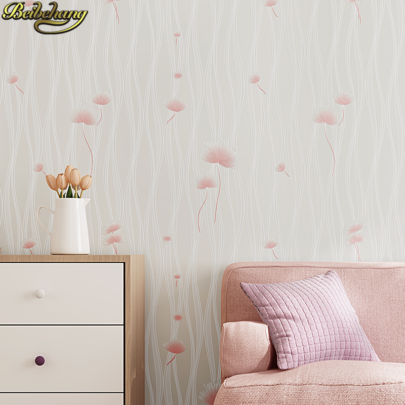 beibehang papel de parede 3D Pastoral dandelion stripes wallpaper for walls 3 d Embossed Living room Wall paper roll wallpapers beibehang 3d wall murals wallpaper for walls 3 d floral rolls flocking living room bedroom papel de parede 3d wall paper roll
