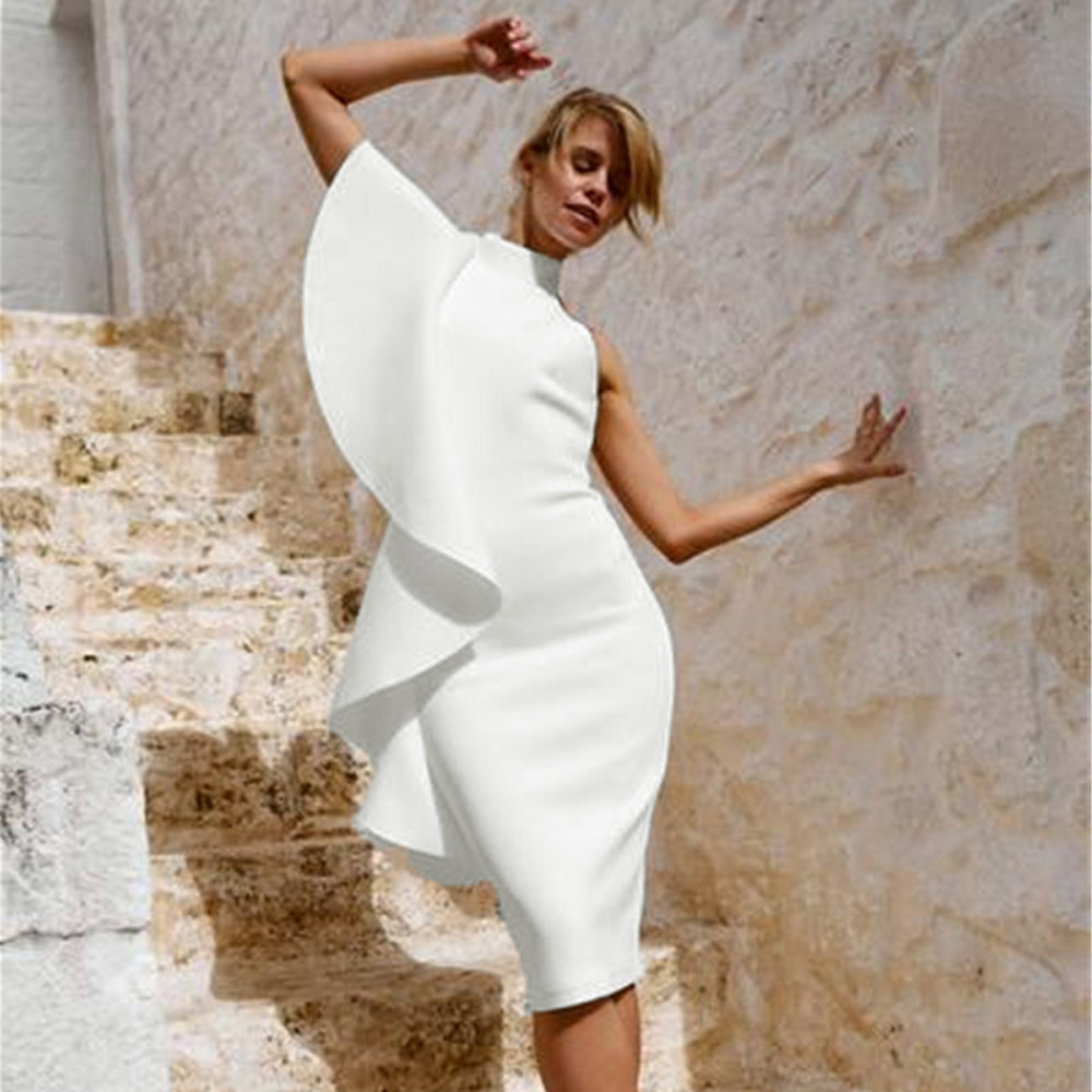 2018 New Arrivals Women Summer White Ruffles One Shoulder Slash Neck Sleevless Knee-Length Dress Women Elegant Party Dress ...