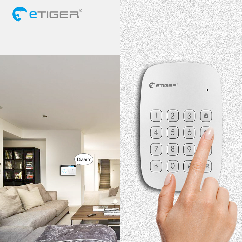 eTiger Wireless RFID Keyboard ES-K1A for Etiger Alarm System S4/S3B etiger es cd1a wireless curtain infrared motion sensor
