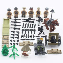 HOT 6PCS/LOT World War 2 Soviet army Army Soldiers counterattack  Building Blocks Military Mini Toy Figure Compatible LegoINGlys