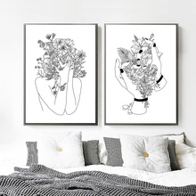 Canvas Art Print Flower Girl Painting Kids Black White Pop Minimalism Posters And Prints Wall Pictures Living Room