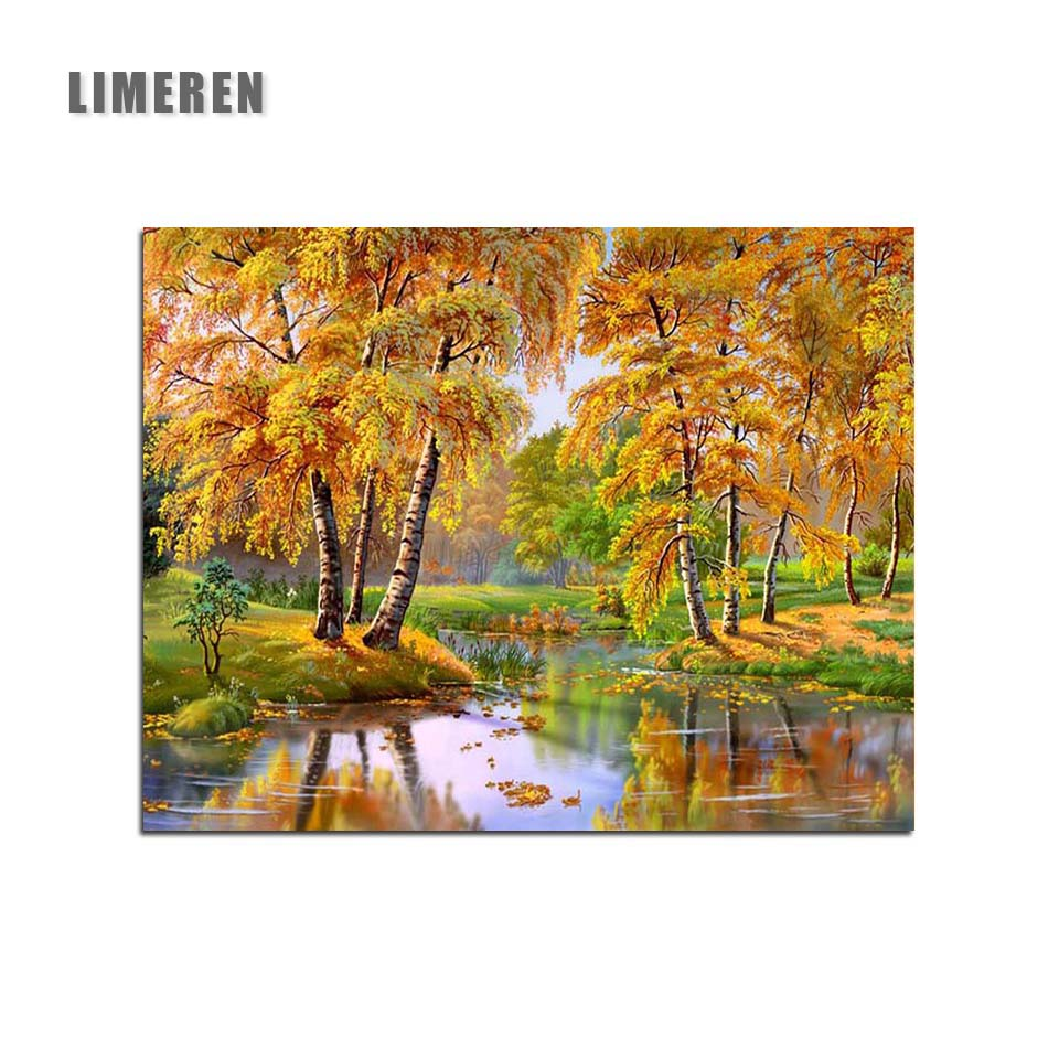 Autumn Yellow leaves Painting By Numbers Deciduous Reflection Trees Stream Landscape Home Decor Coloring By Numbers