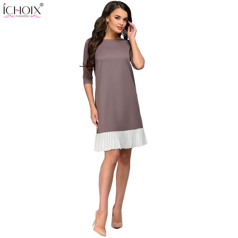 2019 Sommer Arbeit Tragen Kleid Mode Blau Khaki Patchwork Casual Stil Gerade Kurze Kleid Büro Halbe Hülse O-ansatz Mini Kleid