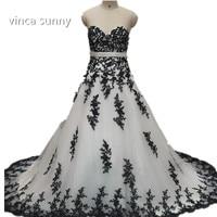 vinca sunny 2018 Gothic White and Black Wedding Dress Ball Gown Sweetheart Up Back vestido de casamento longo vintage trouwjurk