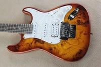 Top Quality China Custom Guitar Burl Pattern Natural Satinwood Body Electric Guitar Floyd Rose Tremolo ST