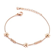 Trendy Stainless Steel Daisy FLOWER Bracelet Bangle For Woman rose gold/steel Charm Link Chain Cuff Jewelry Gift цена и фото