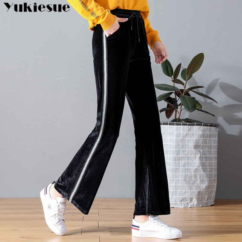 Wide     leg     pants   for women high waist elastic Plus size casual striped women's velvet flare   pants   female trousers pantalon femme