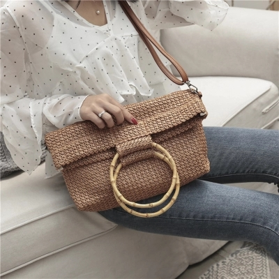 Fashion 2018 Summer Circle Wooden Handle Knitted Handbag Straw Bamboo Bags for Women Retro Tote Bag Crossbody Bag Beach Bag