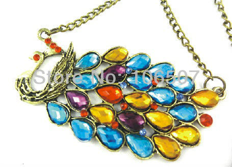 free shipping 10pcs classic colorful Chinese phoenix necklace characteristic peafowl choker necklace sweater chain hot sell